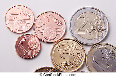 Euro coins - 1, 2, 5, 20 cents and 1, 2 euro coins