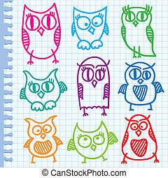 hand drawn owls - funny hand drawn owls on paper page,...