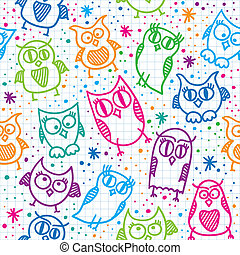 owl seamless pattern - hand drawn seamless pattern with...