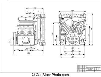 tekening, zuiger, Compressor