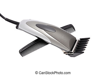 hair clipper and comb   on white background