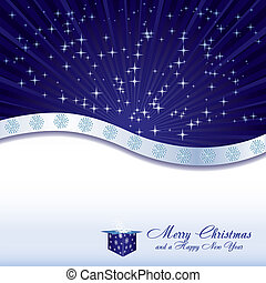 Blue christmas background with stars, gift box and snowflakes, vector illustration