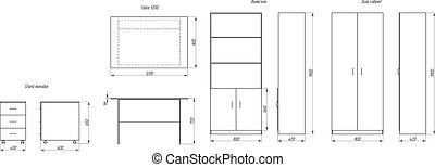 Table, dresser, cupboards