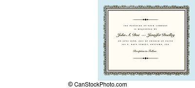 Vector Vintage Couture Wedding Invite Frame. Easy to edit....