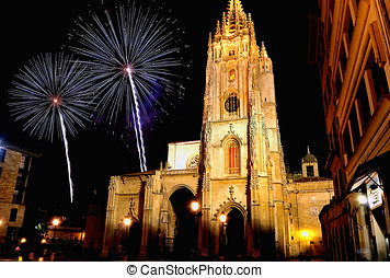Oviedo Cathedral. - Oviedo Cathedral with Fireworks.
