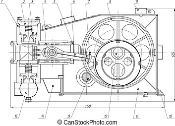 Machine-building drawing. Pump. Vector illustration