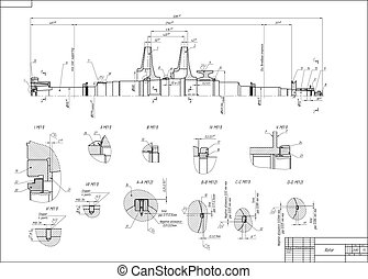 Rotor - Machine-building drawing Rotor Vector illustration