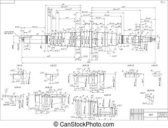 Engineering drawings of the shaft. Vector illustration