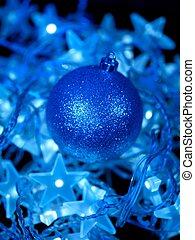 Christmas Lights - Christmas lights isolated against a black...