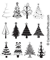 Christmas trees set -B&W- - Twelve black and white isolated...