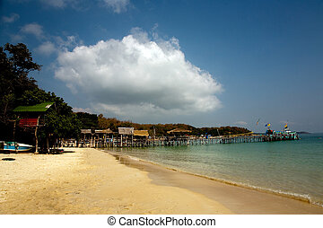 beautiful beach with fine white sand and trees and blue sea...