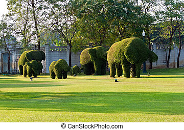 bushes cut to animal figures in the park of Bang Pa-In Palace