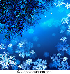 Art Christmas tree branch on a blue night sky background -...
