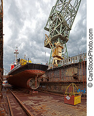 The dock - Repair of the vessel at the dock Gdansk, Poland...