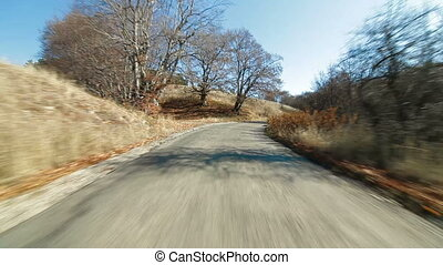 mountain road to Ai Petri - Driving by car along the...
