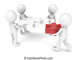 Teamwork - 3d little human character X4 The Team solving a...