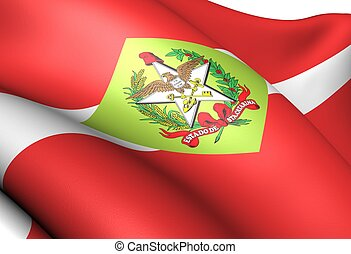Flag of Santa Catarina, Brazil. Close up.