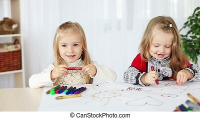 Two girls learn to paint - Childhood