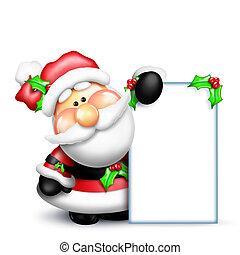 Gumdrop Santa Holding a Tall Sign - An adorable Santa...