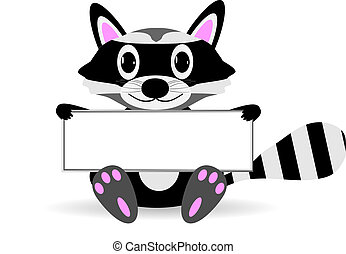 Cute cartoon raccoon with blank sign. - Cute cartoon raccoon...