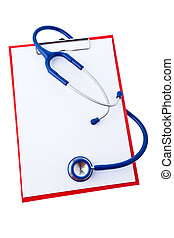 clipboard with notes and stethoscope - a clipboard with...