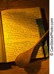 old cookbook - an old handwritten cookbook with recipes. old...