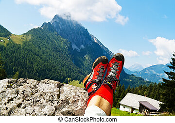 hiking boots for hiking in the mountains - red hiking boots...