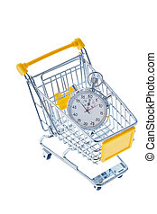stopwatch in a shopping cart - a stopwatch is in a shopping...
