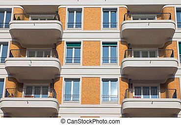 Facade with balconies - Facade with rounded balconies in...
