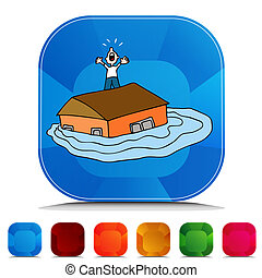Flooded House Gemstone Button Set - An image of a Flooded...