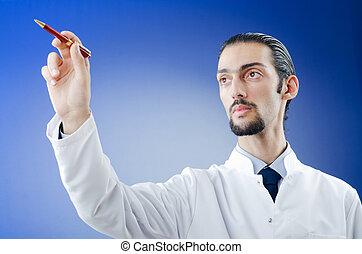 Doctor pressing virtual button