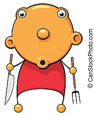 Hungry baby surprized - Illustration of a hungry baby with...