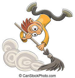 Sweeping dust with a broom - Illustration of an excited...