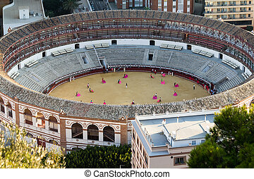 Bullring in Malaga, Andalusia (Spain). People practicing the...