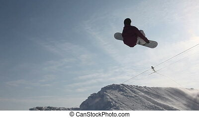 back flip - professional snowboarder make a back flip trick