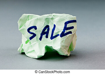 Sale concept with paper