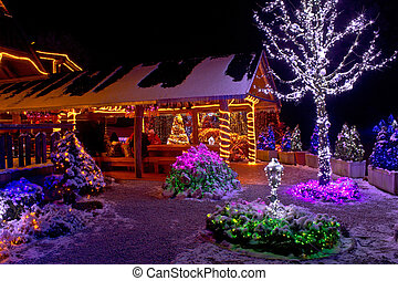 Christmas fantasy - lodge and tree lights - Christmas...