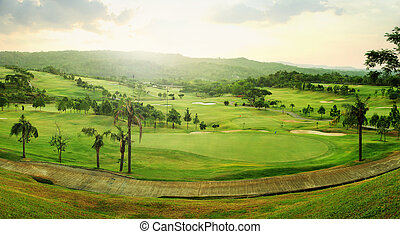 Golf course panorama - Beautiful panorama golf course in...
