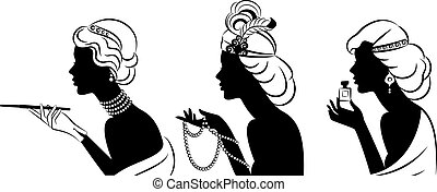 girl with cannon-bit and perfume. - Vintage fashion girl...