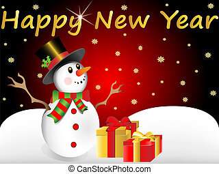 snow man wishes happy new year