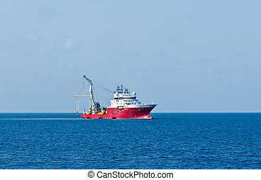 Dynamically positioned vessel making installation of subsea...