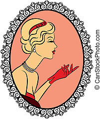 Vintage fashion girl with red glove. Vector