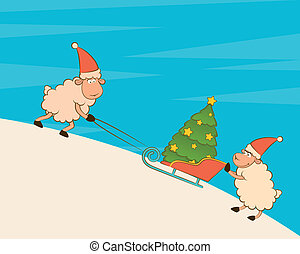 sheep heaves up sledges with gifts.