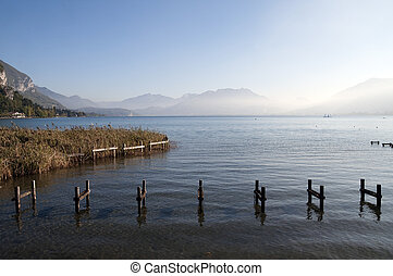 Pontoon structure and Lake Annecy - Pontoon structure, reeds...
