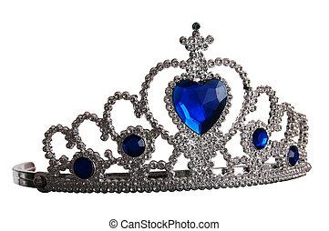 falso, tiara, diamantes, azul, gema