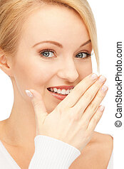 laughing woman - bright closeup picture of beautiful...