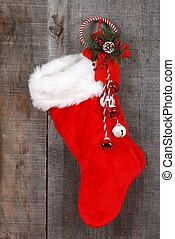 Christmas sock and wreath - closeup Christmas sock and...