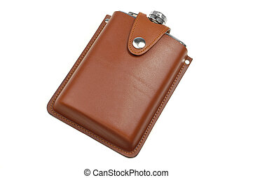 brown leather flask for alcohol isolated on white