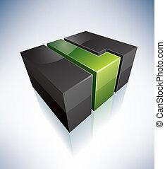Three-dimensional L Letter