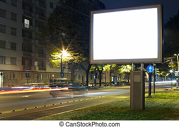 Billboard in the city street, blank screen clipping path...